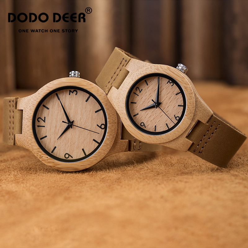 DODO DEER Couple Wood Watch Fashion Casual Men's Ladies Yellow Leather Strap Pin Buckle Valentine's Day Gift Dropshipping