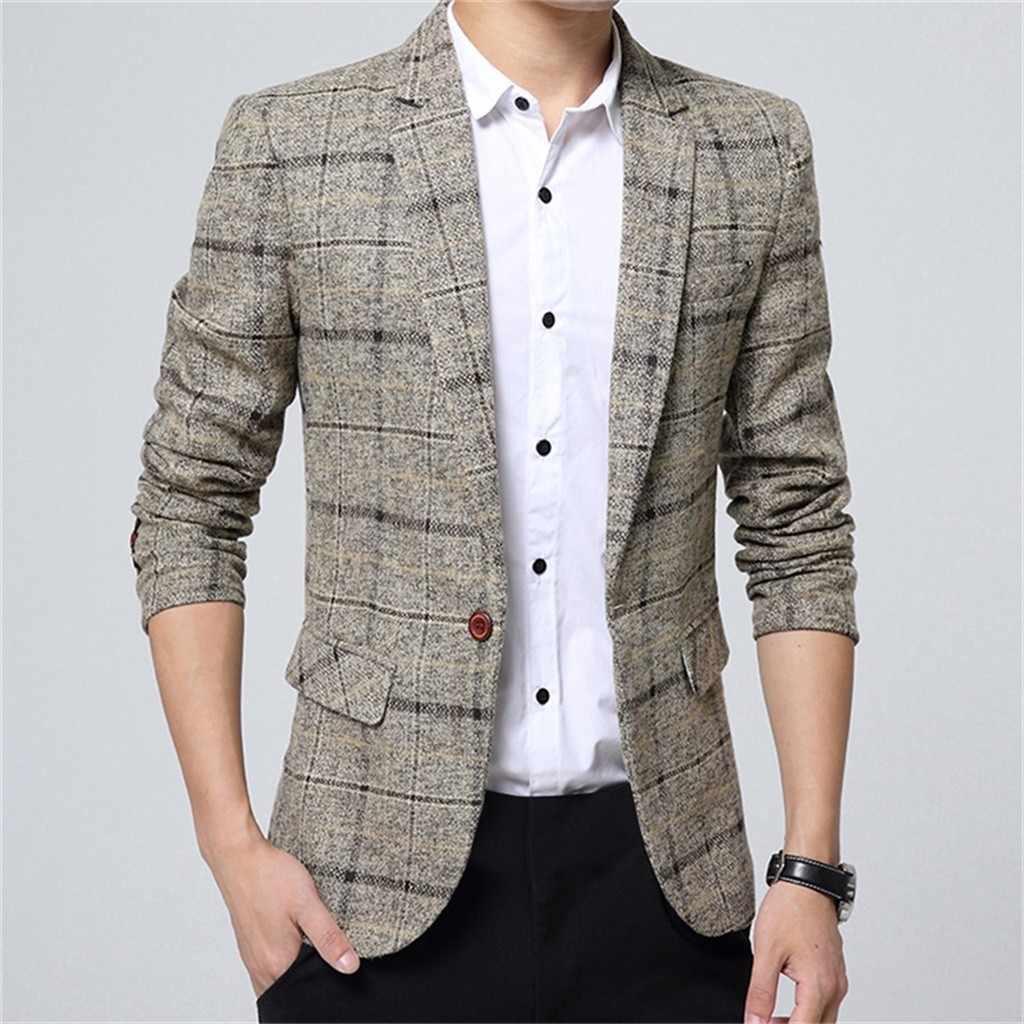 Moda męska garnitur na co dzień w paski łączenie Blazer formalne na wesele Party Silm dopasowana odzież kombinezony M1106