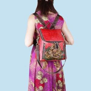 Image 4 - Johnature rétro en cuir véritable à fleurs de haute qualité femmes sac à dos de luxe 2020 nouveau sac à dos de voyage en peau de vache grande capacité