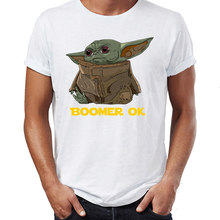Yoda Boomer homme t-shirt bébé Boomer drôle génial illustration dessin imprimé harajuku hollywood t-shirt vêtements de base(China)