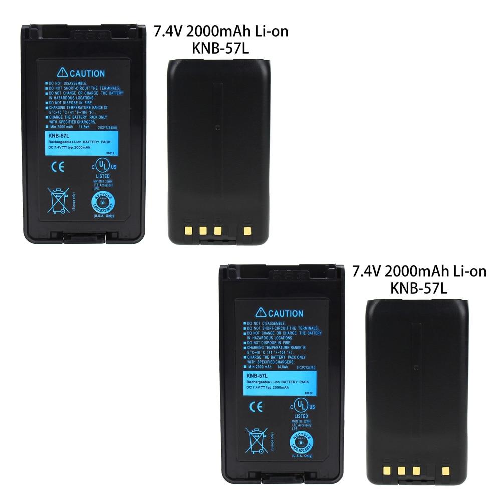 2X KNB-57L Battery For Kenwood KNB-55L TK-2360 KNB-24L TK-2140 TK-3160 TK-3360 TK-2170 TK-3170 Two Way Radio (2000mAh 7.4V LI--O