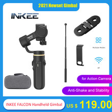 INKEE FALCON Handheld Gimbal 3-Axis Action Camera Stabilizer w/ Mini Tripod for GoPro Hero 9/8/7/6/5 OSMO Insta360 Action Camera