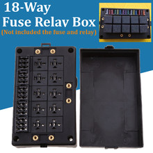 19.5x12x4.5cm Black Car Auto Automotive 18 Way Fuse Relay Box Holder Block Circu