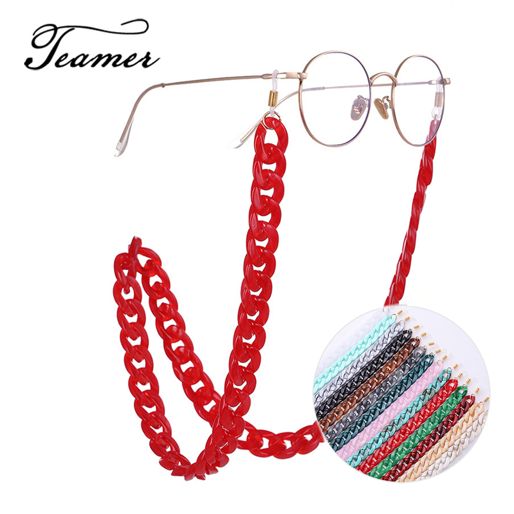 Teamer 74cm Retro Wide Glasses Chain Fashion Black Red Blue Green Acrylic Sunglasses Lanyards Reading Glasses Hanging Neck Chain