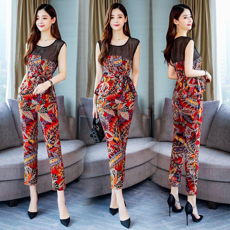 Printed Korean-style Elegant Fashion Joint Set/Suit Skirt 2019 Summer Crew Neck Short Sleeve