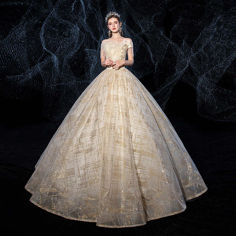 Mrs Win Wedding Dress New Champagne Bride Gown Luxury Sequins Boat Neck Ball Gown Princess Wedding Dresses Custom Size