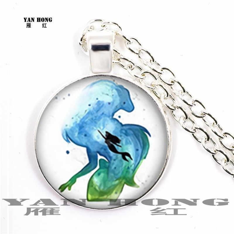 ใหม่สีน้ำมันภาพวาด Mermaid,สร้อยคอ,จี้ 25 มม.,ของที่ระลึกที่ดีที่สุดสำหรับเพื่อน