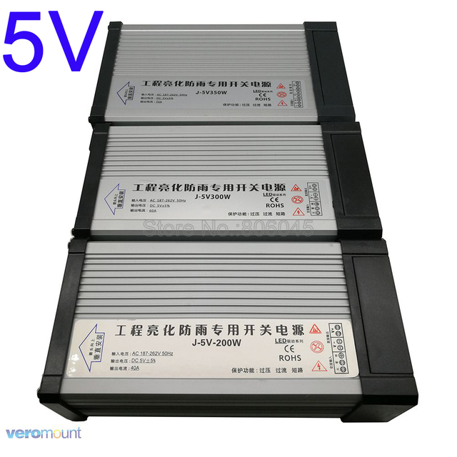 IP54 غير نافذ للمطر في الهواء الطلق 5V مصباح LED للامداد بالطاقة الطاقة التبديل محول سائق AC220V إلى DC5V 40A 60A 70A 200W 300W 350W