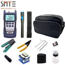 12pcs/set Fiber Optic FTTH Tool Kit with FC-6S Fiber Cleaver Optical Power Meter 5km Visual Fault Locator Wire stripper