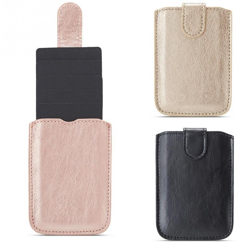 Unisex Cards Organizer Storage Stick-on Fashion Portable Phone Back Card Holder Adhesive Wallet PU Leather Multifunctional Case