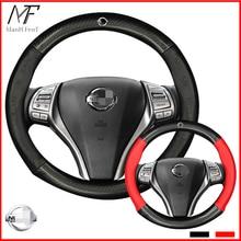 цена на ManH FenT Carbon Fiber Cow Leather Car Steering Wheel Cover For Nissan Qashqai Xtrail t32 Juke Note Tiida Almera Rogue Almera