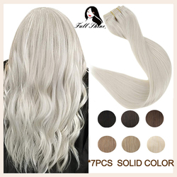 Full Shine Clip In Human Hair Extensions 7 Pcs 100g Pure Blonde Color Hairpins On Double Weft Machine Remy Human Hair For Woman
