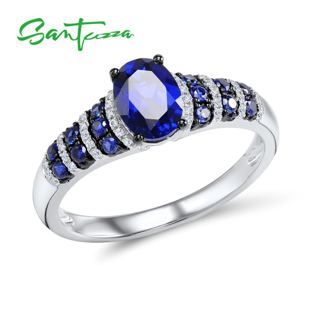 SANTUZZA Silver Rings For Women Pure 925 Sterling Silver Glamorous Blue Oval Glass Ring Wedding Accessories Fine Jewelry