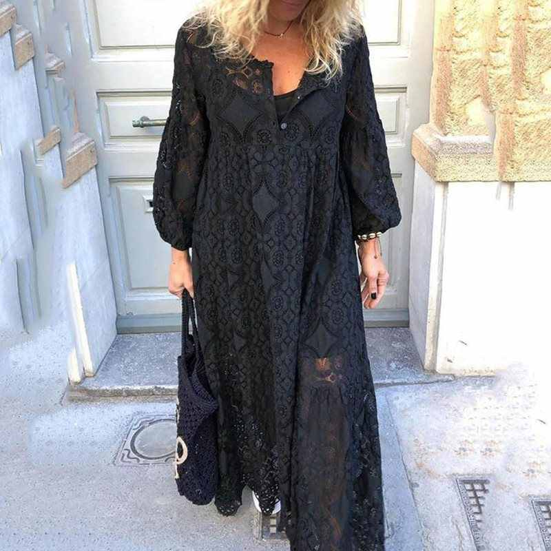 2019 Autumn Women's Hollow Maxi Dresses Lantern Sleeve Pullover Korean Elegant Boho Long Dresses Plus Size 4XL 5XL Red/Blue