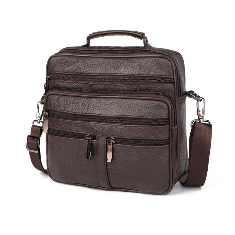 Genuine Leather Men's Briefcase Retro Motorcycle Business Computer Bag Fashion Casual Shoulder Messenger Bag Zip Postman Handbag