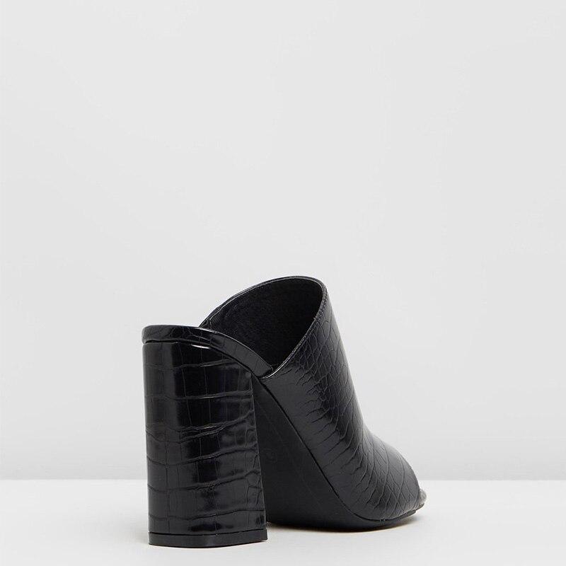 Shofoo noir Croc sans lacet sandales Super talons carrés Peep orteil chaussures pour grande taille 13 15 dames été bureau Mature mode - 3