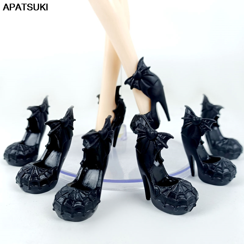 Black Spider Web Fashion Doll Shoes for Monster High Dolls High Heel Shoes Dolls Accessories For 1/6 Demon Monster Doll DIY Toy
