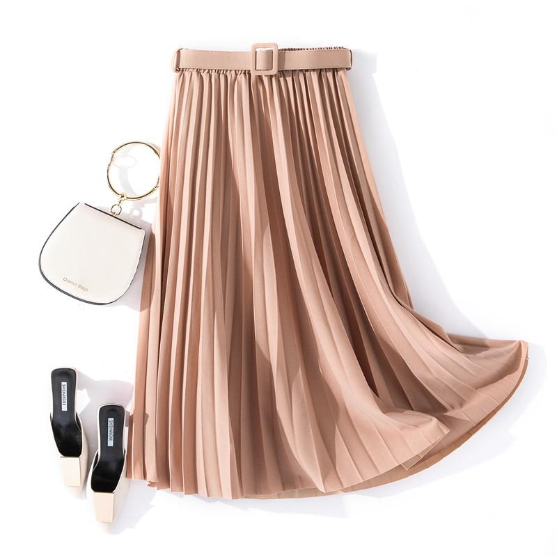 2020 Spring Women A-Line Long Skirt High Waist Women Pleated Skirt Vintage Women Boho Skirt With Belt Faldas Jupe Femme Saia