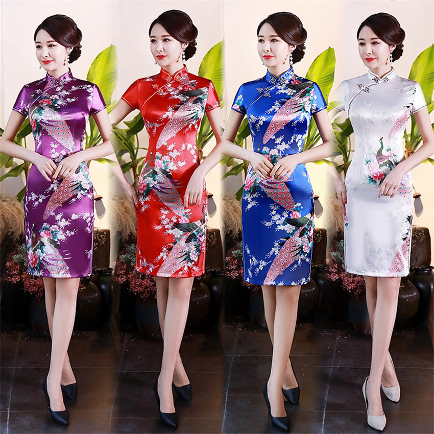 11Color Satin Chinese Dress For Women Evening Party Dresses Peacock Short Sleeve Traditional Cheongsam Retro Qipao S-6XL