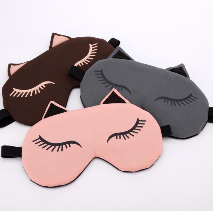 By DHL 100Pcs Cute Cat Sleeping Eye Mask Eyepatch Nap Cartoon Eye Shade Sleep Mask Bandage On Eyes Cover For Sleeping SN298