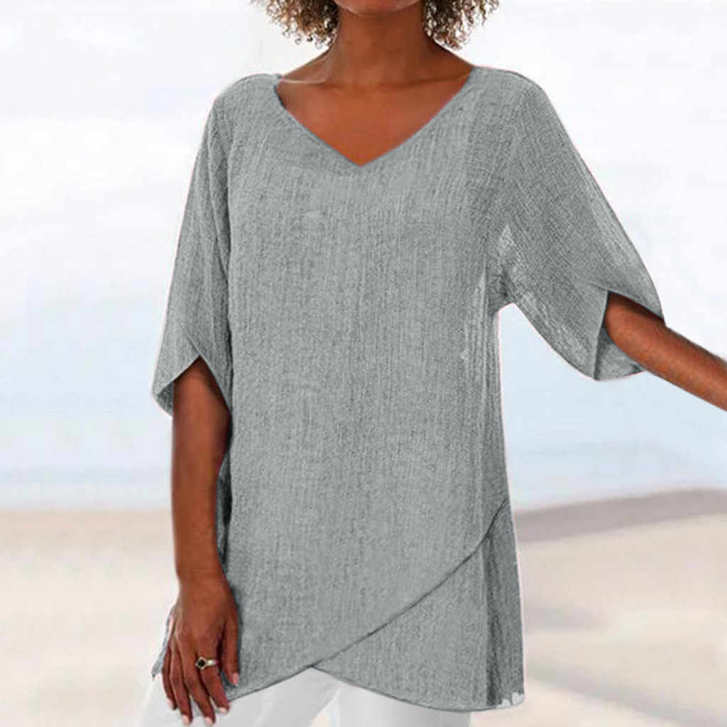 Große Größe Bluse Sommer 2020 Baumwolle Leinen Hemd Frauen Taste Up Lange Frauen Tunika Bluse Lose Kurzarm V Neck solide Top