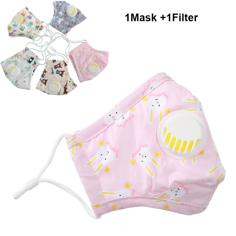PM2.5 Lovely Cotton Face Mask For Children Carbon Filter Boys Nose Mask Anti Dust Mouth Muffle Cute Baby Girl Mask