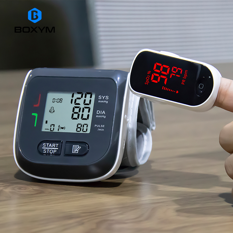 BOXYM Digital Finger Pulse Oximeter Blood Oxygen Heart Rate Monitor & Wrist Blood Pressure Monitor Sphygmomanometer