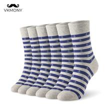 Cotton men socks stripped anchor man soft 6pairs/lot K SIZE 7-11 EUR 40-46 1001 VKMONY