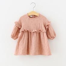 Осеннее платье для маленьких девочек; льняные Хлопковые Платья принцессы; платье с оборками; Одежда для девочек; одежда для детей с длинными рукавами