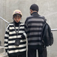 Autumn Winter new Korean ulzzang retro high collar loose thick striped sweater chic Harajuku hooded casual women