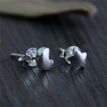 Fyla Mode S925 Sterling Silver Vintage Star Moon Stud Earrings Handmade Thai Silver Women Jewelry 5*5mm 0.45g WTS004