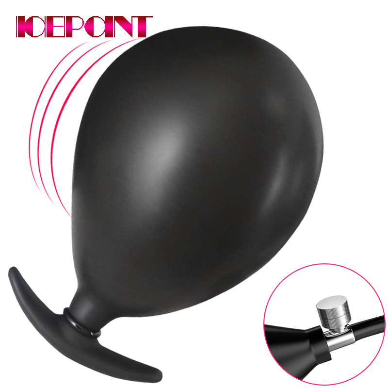 Inflatable Silicone Anal Plug for Couple Anal Dilator Expandable Butt Plug Unisex Big Dildo Sex Toys Accessory