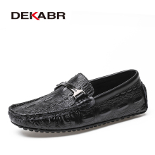 DEKABR Men Loafers Shoes Alligator Style Leather Casual Sneakers Male Fashion Boat Footwear Soft Dress Party Shoes For Men