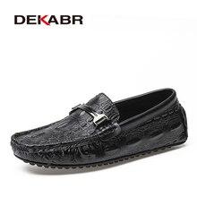 DEKABR גברים מוקסינים נעלי תנין סגנון עור מקרית סניקרס זכר אופנה סירת הנעלה רך שמלת מסיבת נעליים לגברים
