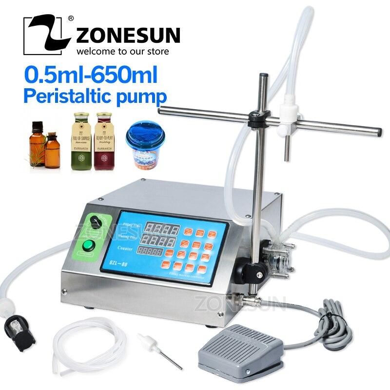 ZONESUN Peristaltic Pump Bottle Water Filler Liquid Vial Desk-top Filling Machine For Juice Beverage Milk Drink Oil Perfume