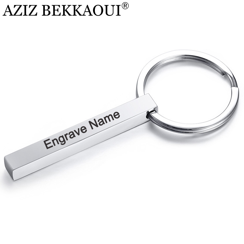 AZIZ BEKKAOUI Engrave Name Keychains Simple Style Stainless Steel Pendant Key Ring Customized Logo Fashion Jewelry Gift
