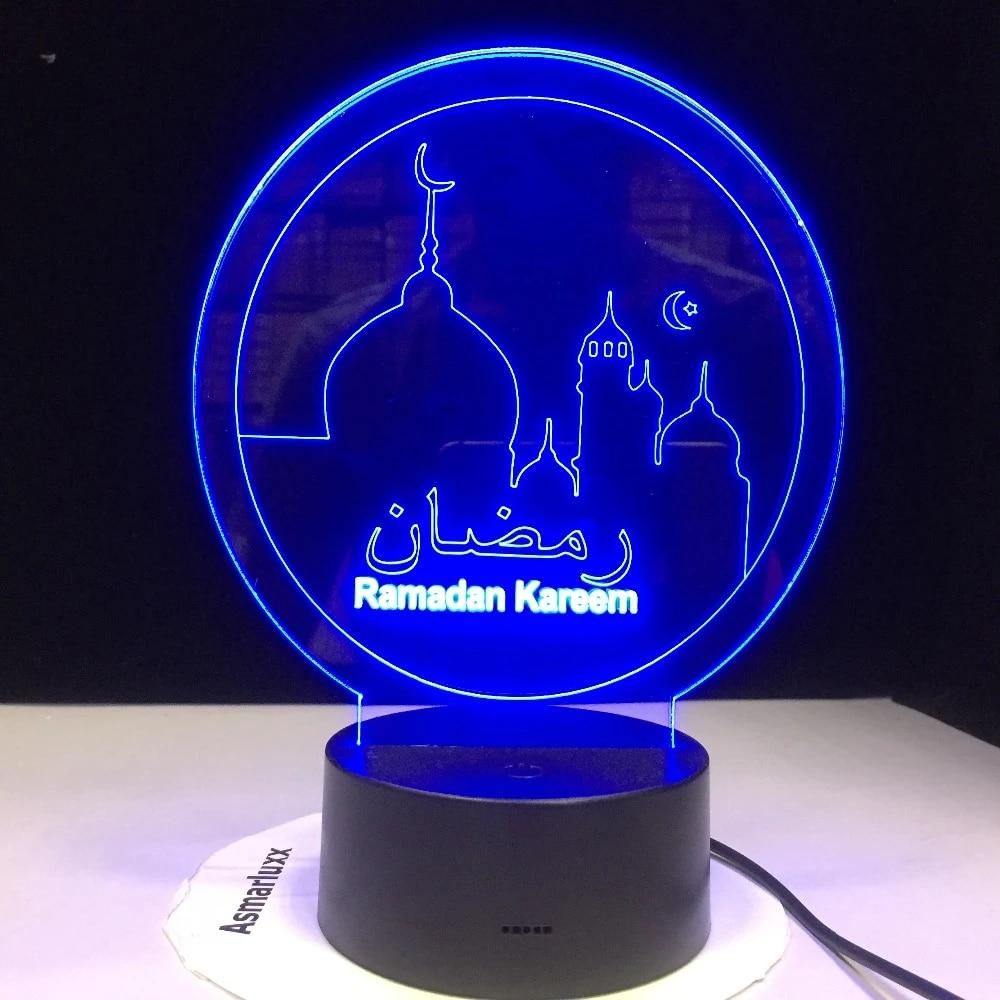 Ramadan Islam Blessing Mubarak 3d Acrylic Led Night Light Living Room Desk Lamp Bedroom Bedside Table Lamp Holiday Nightlight Led Night Lights Aliexpress