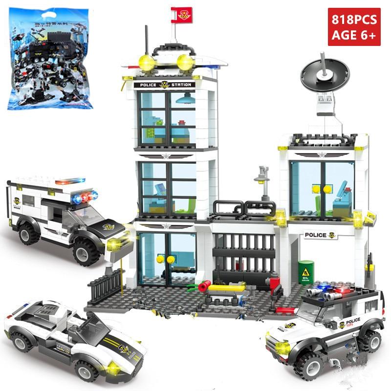 818Pcs Conjuntos de Blocos de Construção da Administração Geral da SWAT Da Polícia Da Cidade Playmobil LegoINGLs Bricks DIY Brinquedos De Natal para Crianças