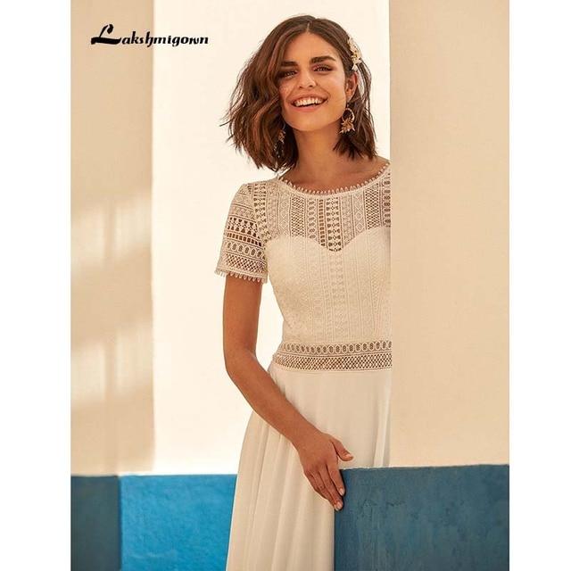 Sexy Boho Wedding Dress Plus Size Chiffon Beach Wedding Gown Lace Backless Sweep Train Bridal Gowns Boho Robe de mariee 2021 new 5