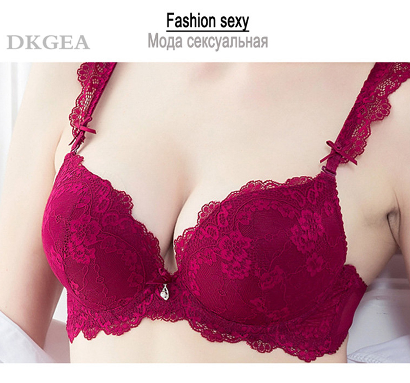 Classic Black Women Underwear Lace Embroidery Push up Bra Cotton Thick Brassiere A B C Cup Sexy Bras Adjustable Deep V Lingerie 4