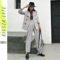 Женский Брючный комплект из двух предметов, клетчатый пиджак и брюки в повседневном стиле, весна-осень 2020