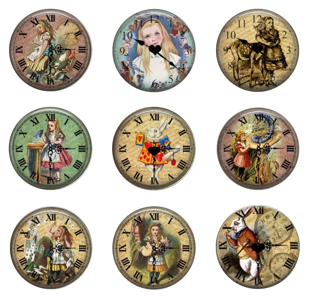 5pcs16mm20mm25mm Alice in Wonderland Vintage Clock White Rabbit Handmade Photo Glass Drop Style Cabochons Jewelry Accessories