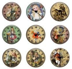 5pcs16mm20mm25mm Alice in Wonderland Vintage Saat Beyaz Tavşan El Yapımı Fotoğraf cam avize Stil Cabochons Takı Aksesuarları