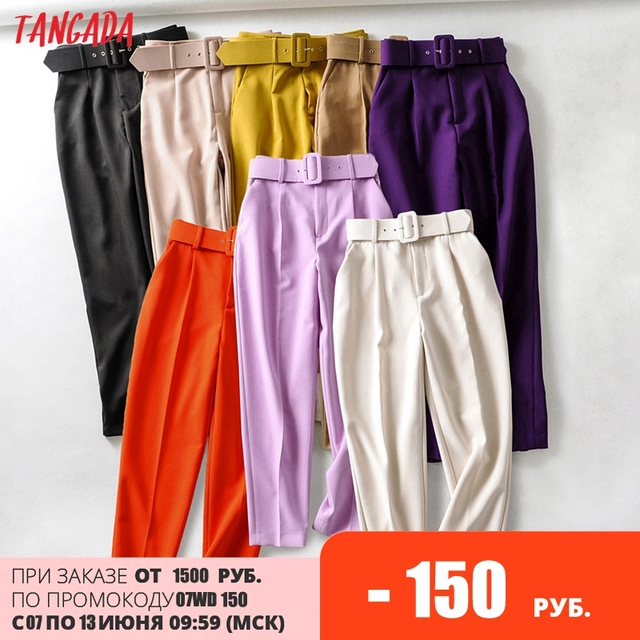 Tangada black suit pants woman high waist pants sashes pockets office ladies pants fashion middle aged pink yellow pants 6A22 1