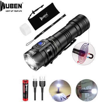 WUBEN E05 LED Flashlight EDC Mini Light 900 Lumens USB Rechargeable Waterproof Mini Torch with Battery Included Magnet Light