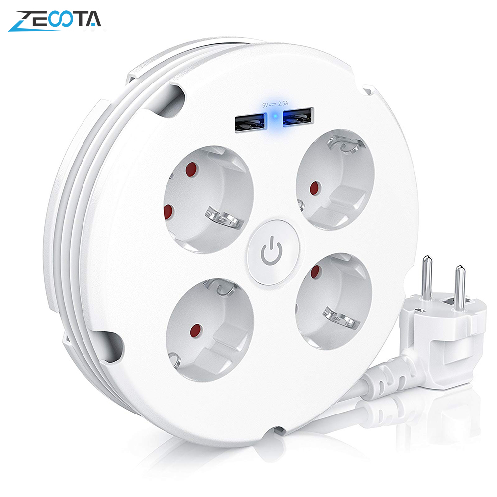 Multiple Power Strip Electric Sockets 4 Way Round 2 USB Charger Switch Outlets Illuminated Wall Mounting Circular Roll-up Cable