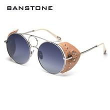 BANSTONE נשים בציר מתכת מעגל SteamPunk מקוטב משקפי שמש עור צד מגן מותג גברים משקפיים שמש Oculos דה סול UV400