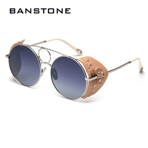 Image 1 - BANSTONE Women Vintage Metal Circle SteamPunk Polarized Sunglasses Leather Side Shield Brand Men Sun Glasses Oculos De Sol UV400