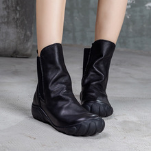 Artdiya Original Genuine Leather Women Boots Autumn and Winter 2019 New Retro Short Flat Bottom Chelsea Ankle