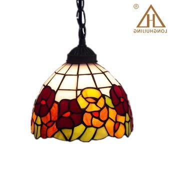 Stained Glass Lamp European Brief Art Glass Curtain Beads Pendant Lights Living Room Restaurant Suspension Light Fixtures
